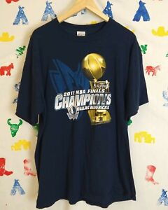 Dallas-Mavericks-2011-Championship-Shirt-Size-XL-Navy-Blue-Trophy-Rap-Tee-NBA