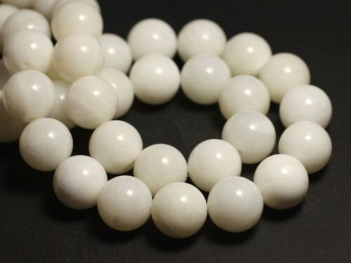 Perles de Nacre Blanche semi transparente Boules 12mm   4558550006479 4pc
