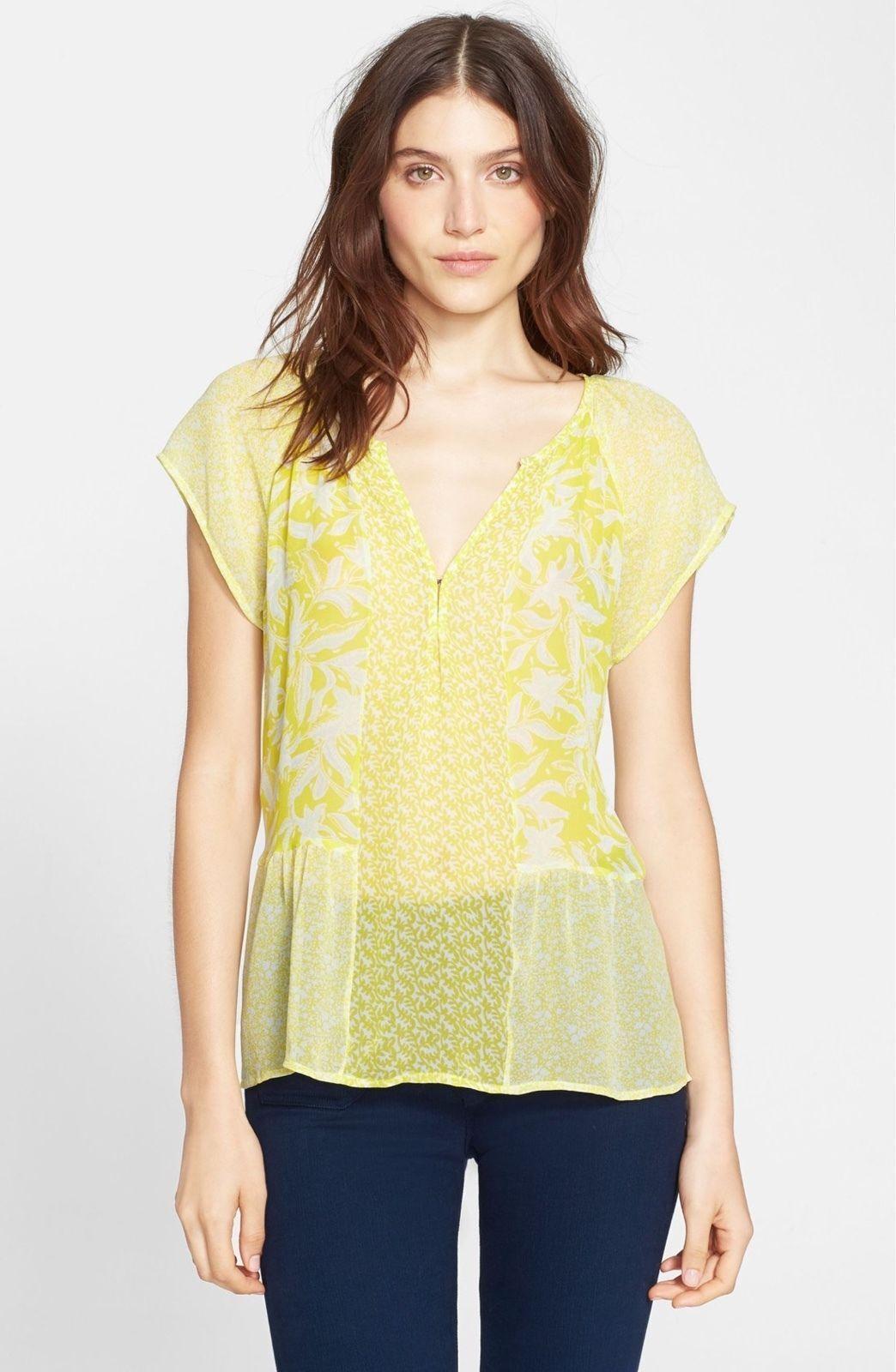 NWT  Joie 'Anerae' Silk Top Gelb-Lime [SZ Medium]  H64