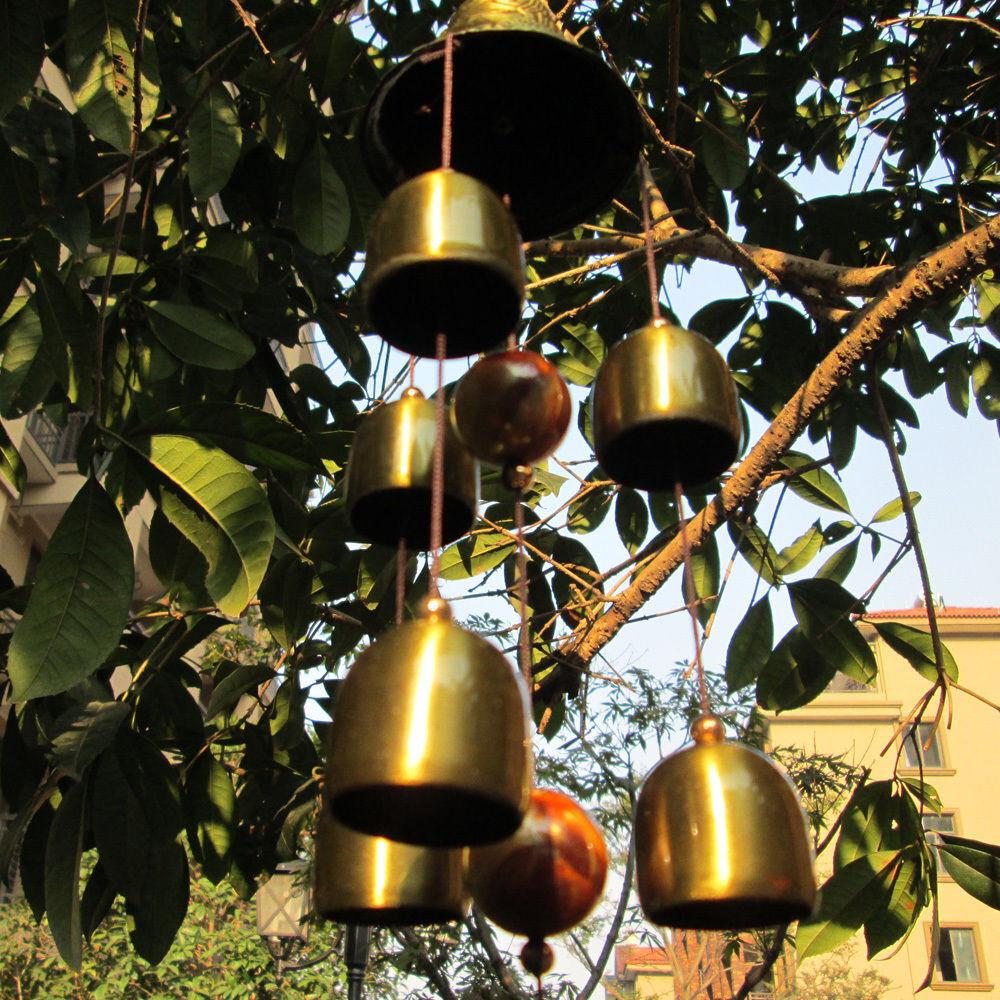 6 Copper Bells Wind Chimes Metal Windchime Outdoor Garden Home Hanging Ornaments