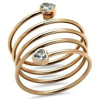 Rose Gold Spiral Ring Stainless Steel Clear Heart Cz Geometric Coil