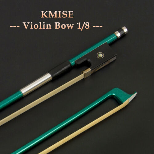 Violin Bow 1//8 Size Fiddle Parts Carbon Fiber Octagonal Stick Ebony Frog Green