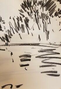 "JOSE TRUJILLO - Original Charcoal Paper Sketch Drawing 12"" Modernist Minimalist"