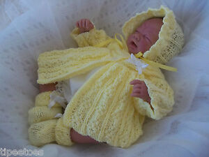 DK-Knitting-Pattern-18a-TO-KNIT-Early-Baby-Girl-14-16-034-Reborn-Dolls-Matinee-Set