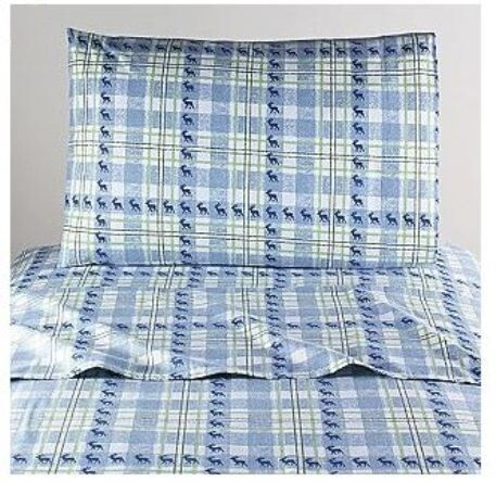 Moose on Blue Plaid TWO FLANNEL PILLOWCASES KING GT