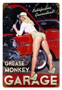 GREASE MONKEY Garage Car Art Pinup Hildebrandt Vintage Metal Sign & FREE PRINT
