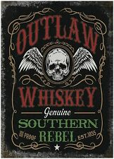 Outlaw Whiskey Pub Bar Man Cave Biker Shed Old Advertising Small Metal/Tin Sign