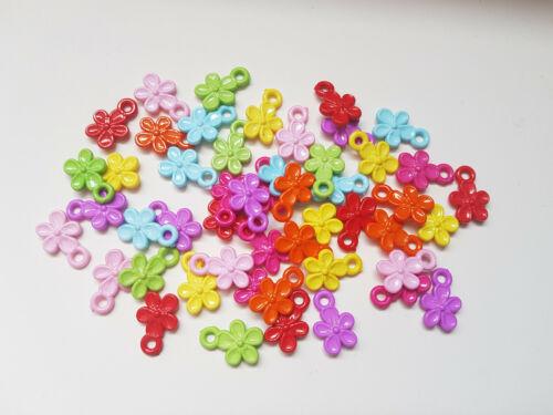 Flower Mixed Colour 50 x Acrylic Pendants 19.5mm
