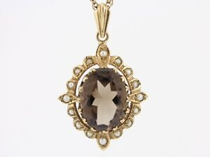 Smoky Quartz and Seed Pearl Pendant 9ct Gold Necklace Ladies 87g AH9 - Morpeth, United Kingdom - Smoky Quartz and Seed Pearl Pendant 9ct Gold Necklace Ladies 87g AH9 - Morpeth, United Kingdom