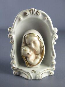 Vintage-Niche-en-Ceramique-Avec-Buste-Madonna-Peint-D-039-Epoque-Xx-Seconde