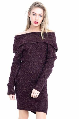 New Women/'s Ladie/'s cable Knitted off shoulder frill long sleeve jumper dress *