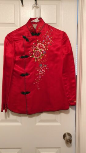 Chinese Red Hand Embroidered Long Sleeve Blouse