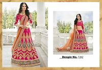 INDIAN Pakistani Bollywood Bridal Actress Pink & Orange Lengha Saree Sari