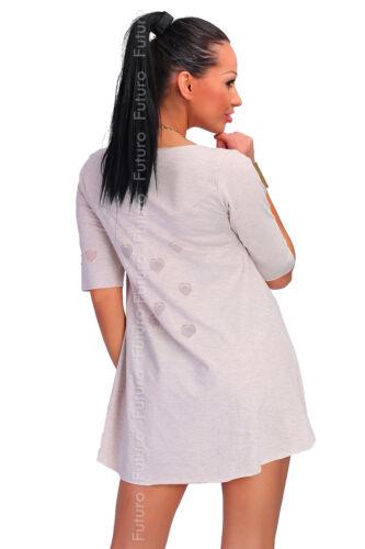 Womens Asymmetric Mini Shift Dress Mesh Hearts Long Top Tunic Size 8-14 FT1828