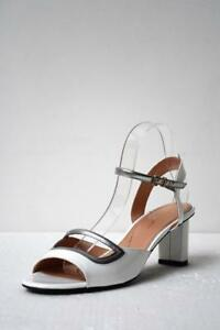 ROBERT-CLERGERIE-White-Patent-Leather-Silver-Trim-Leather-Mid-Heel-Sandal-40-5