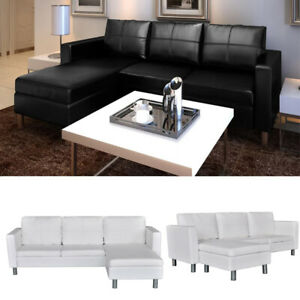 Details about Sectional Sofa 3-Seater Leather L-shaped Lounge Couch Bed Set  Pillows Cushions