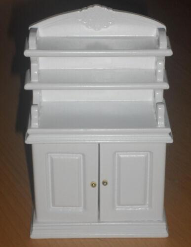 Schrank//Küchenschrank m Regalteil weiß,Maßstab 1:12,Miniatur f.Puppenstube #15#