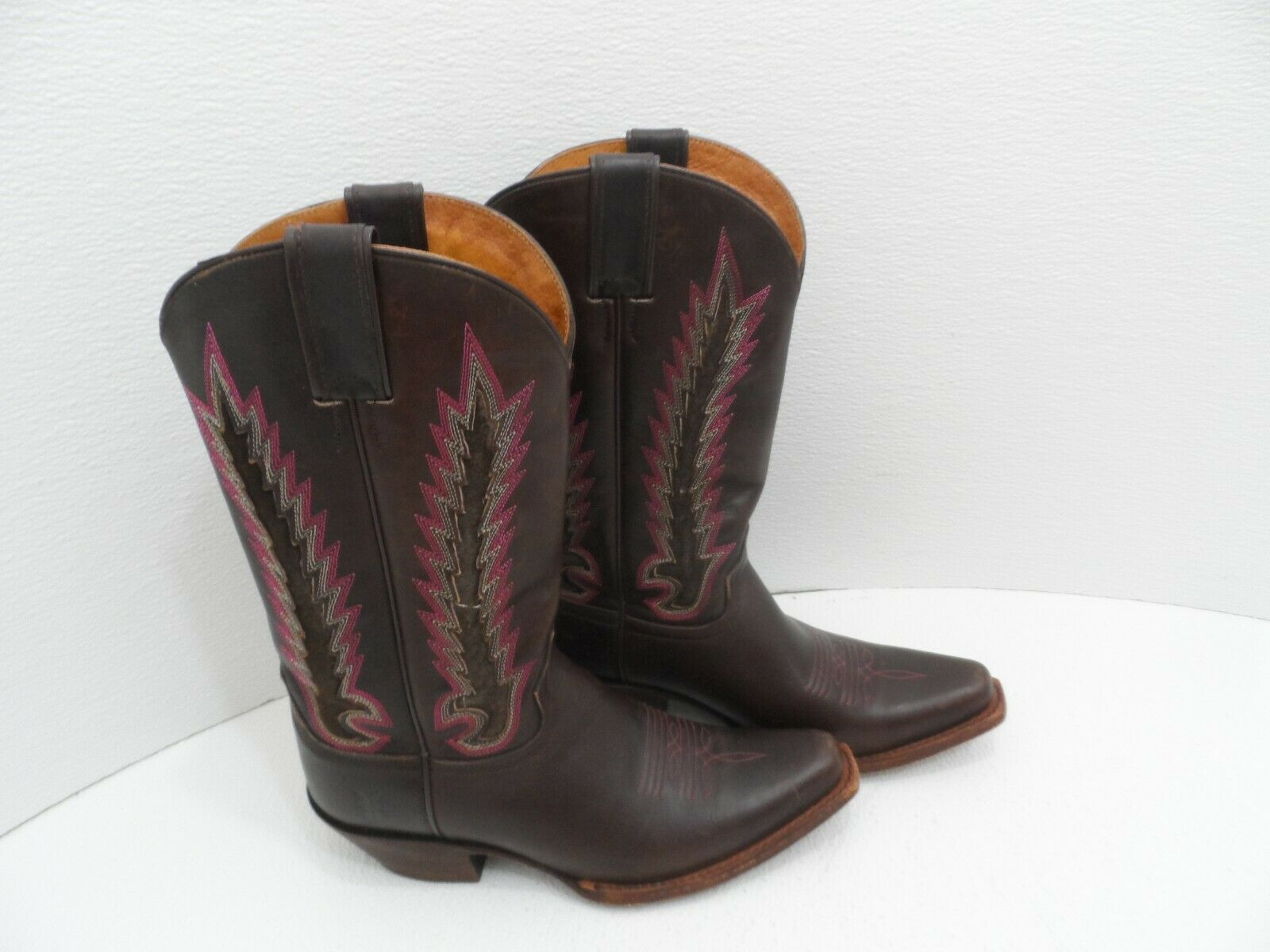 Frye Women's Brown Embroidered Leather Boots, Size 8 B - - - VGC 0ce206