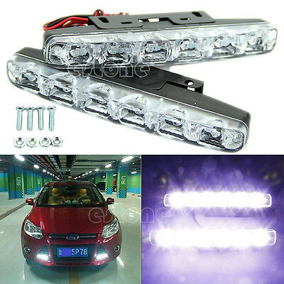 2x Xenon White 6 LED Super Bright DRL Daytime Running Driving Lights Fog Lamps