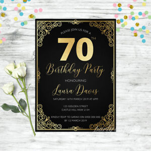 70TH-BIRTHDAY-INVITATIONS-BLACK-GOLD-AGE-PERSONALISED-PARTY-SUPPLIES