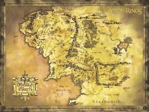 Details about Herr der Ringe Poster - Karte von Mittelerde - Middle Earth  Map - 135,5 x 98 cm