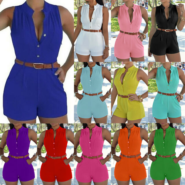 Women Party Jumpsuit Romper Shorts Pants Lady Summer Holiday Beach Mini Playsuit
