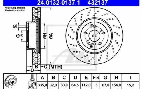 2x ATE Bremsscheiben vorne gelocht 335mm 24.0132-0137.1 Mister Auto
