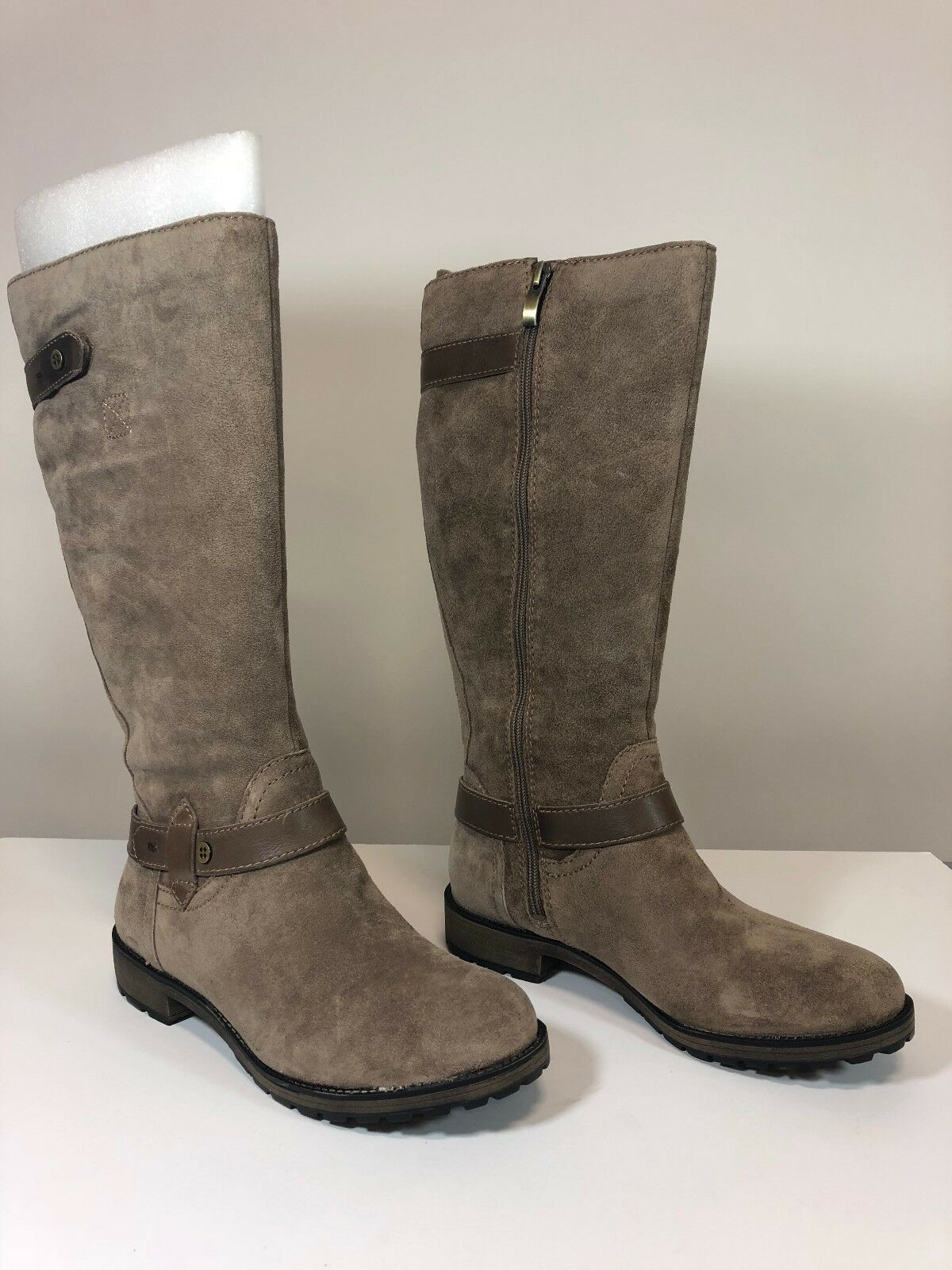 Naturalizer Womens Tanita Riding Boots, Taupe, 8.5WW Wide Size