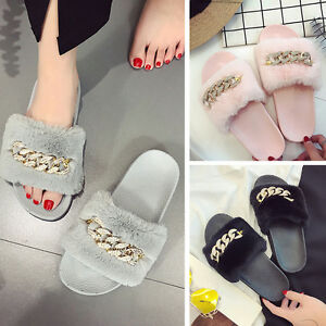 89bec21a624 Details about Home Warm Anti Skid Flip Flops Fur Chain Slider Women Shoes  Slipper Slip On Flat