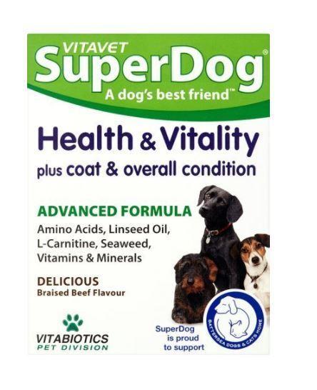 Vitabiotics VITAVET SuperDog Health and Vitality 30 Chewable Tablets