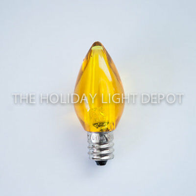 25 C7 Yellow LED Christmas Light Bulb Smooth LED Retro Fit Dimmable Box of 25