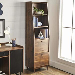 Image Is Loading Vintage Walnut Wood Mid Century Modern Retro Bookshelf