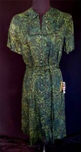 RARE-VINTAGE-1960-039-S-DEADSTOCK-NEVER-WORN-GREEN-PRINTED-COTTON-DRESS-SIZE-10-12