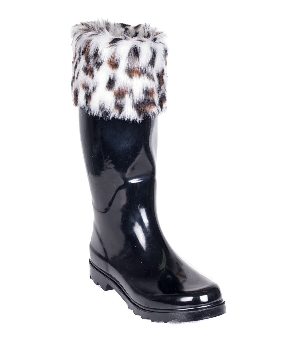 FOREVER YOUNG INC.Black Leopard-Trim Rain Boot Women's Size 7