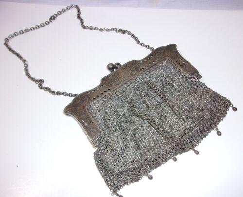 Antique Metal Mesh Ornate Purse Ca 1920's  T*