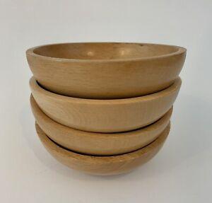 """Set 4 Vtg Carved Wooden Bowls 6"""" Salad/Snack/Dessert Japan Natural Wood MCM"""