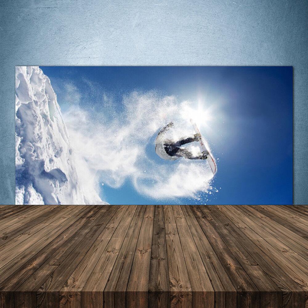 Crédence de cuisine en verre Panneau 140x70 Art Sports D'hiver Neige
