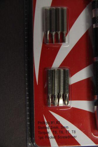 Precision Mini 9PCS Phillips SLOTTED TORQUE Bits Screwdriver Pen Repair Tools