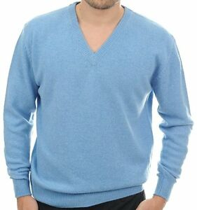 4 chiné pull bleu pour L à azur brins V Balldiri 100 cachemire hommes col vW8gwnZ7