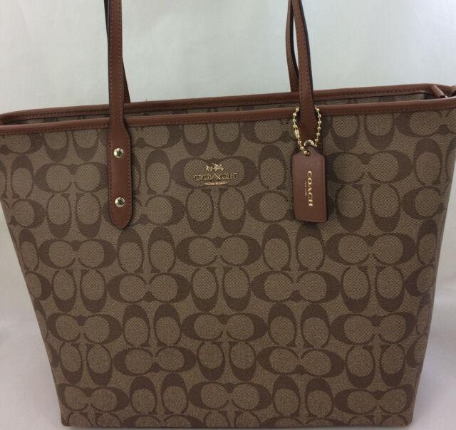 879091a71636 New Coach F58292 Signature City Zip Tote Handbag Purse Shoulder Bag Khaki