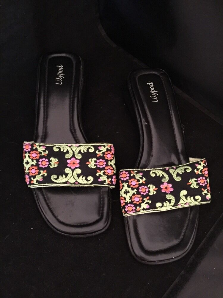 36 (size 6) and Lilypod Sandal Slides Black with Green and 6) Orange Embroidery f0d426