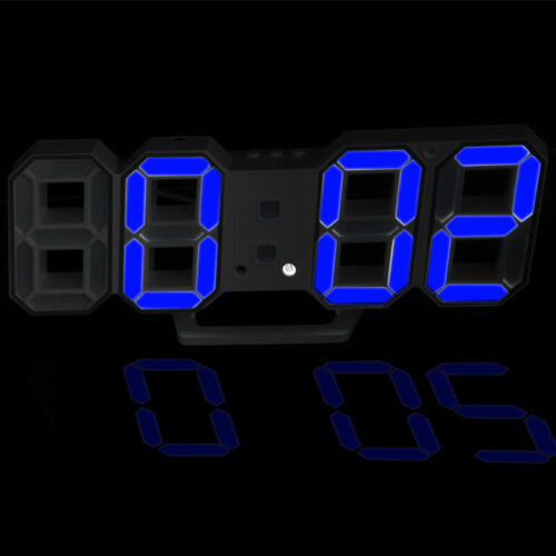 Modern Digital 3D LED Wall Alarm Clocks Snooze Clock with 12//24 Hour Display