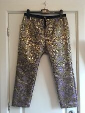 Women's Marni For H&M Metallic Jacquard Print Trousers UK 14 40 Worn Once