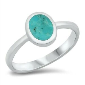Ring Solid Sterling Silver 925 Genuine Turquoise Gift Face Height 10 mm Size 5
