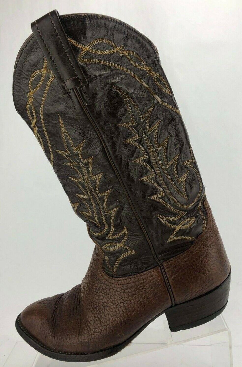 Tony Lama botas de vaquero occidental Marrón Cuero exótico Vintage caído para Hombre US 8 Extra Ancho