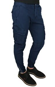 pantalon homme cargo bleu