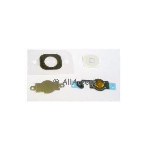 WHITE Home Menu Button Key Cap + Flex Cable + Bracket Holder for Apple iPhone 5