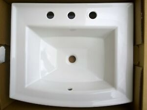 Nib Kohler 2356 8 0 Bathroom White Drop In Rectangular Vanity Sink Ebay