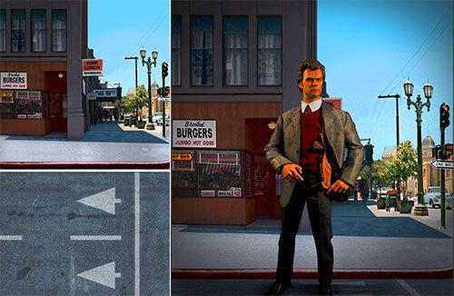 suministro directo de los fabricantes Telón de fondo de de de Cochetel se envía enrollado  Dirty Harry  Diner para 1 6 figuras Clint Eastwood  punto de venta en línea