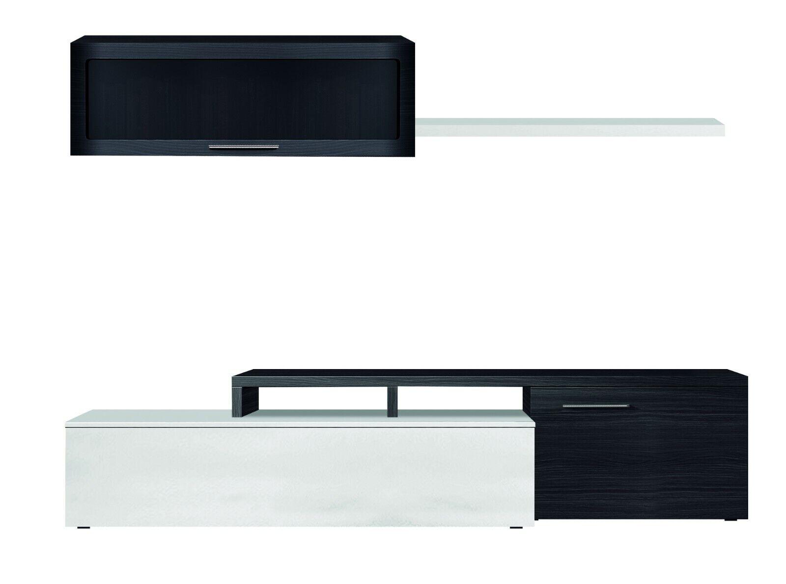 s l1600 - Mueble salón TV modular, color Blanco Brillo y Gris Ceniza 200cm.